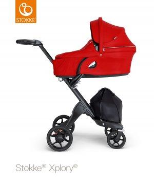 Stokke Xplory V6 Gestell Schwarz Leatherette Griffe Schwarz Babyschale Rot