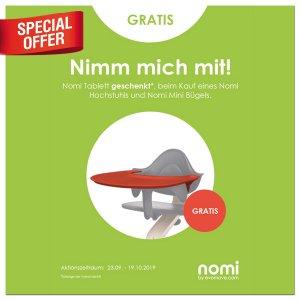 Bei Kauf eines Nomi Hochstuhls bekommst du ein Nomi Tablett gratis