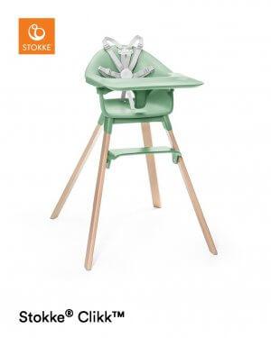 Stokke Clikk Hochstuhl Grün mit Tray und 5-Punkt-Gurt