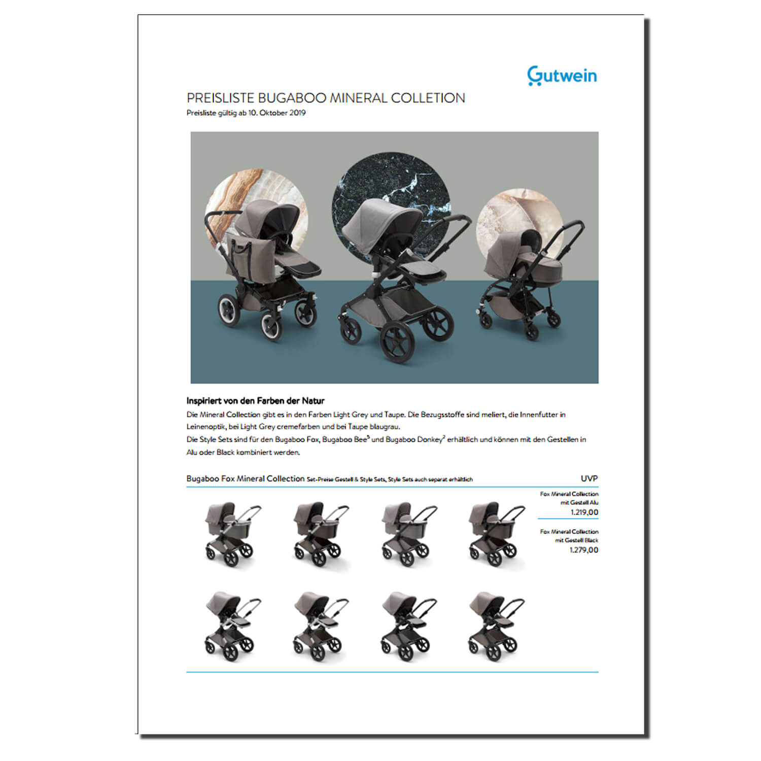 Bugaboo Mineral Collection Preisliste