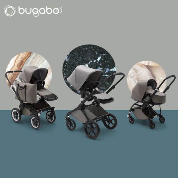 Die Edition Mineral Collection von Bugaboo. Erhältlich sind die Modelle Bugaboo Fox, Bugaboo ,Donkey 2 und Bugaboo Bee 5