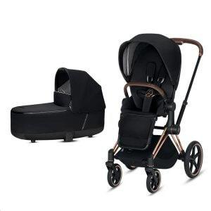 Cybex Priam Gestell Rosegold, Lux Premium Babywanne und Lux Sitz in Premium Black. Auch mit Gestell in Chrome oder Matt Black erhältlich