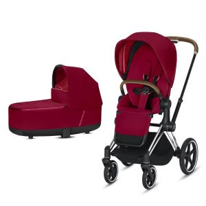 Cybex Priam Gestell Chrome, Lux Premium Babywanne und Lux Sitz in True Red. Auch mit Gestell in Rosegold oder Matt Black erhältlich